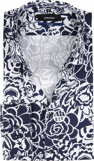 Seidensticker Hemd TF Flower Dunkelblau