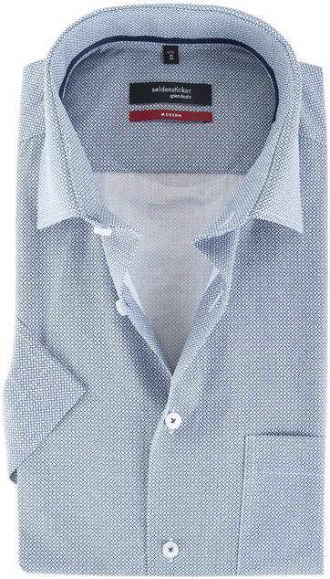 Seidensticker Korte Mouw Overhemd Modern Fit Donkerblauw Print