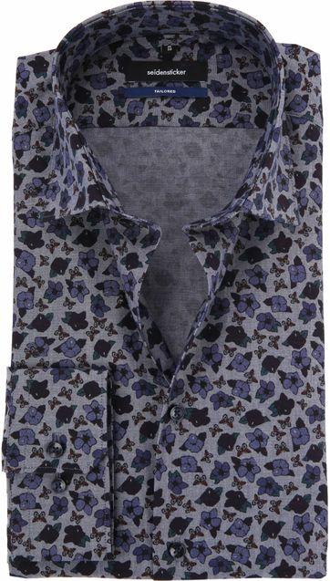 Seidensticker Overhemd Bloem Blauw