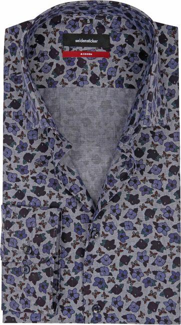 Seidensticker Overhemd MF Bloem Blauw