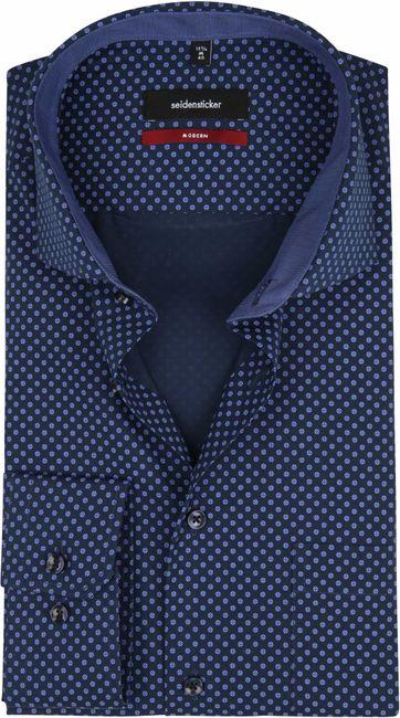 Seidensticker Overhemd MF Navy Dessin