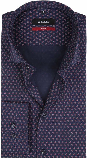 Seidensticker Overhemd MF Paisley Navy