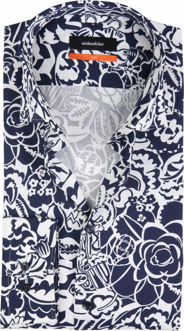 Seidensticker Overhemd SF Flower Navy