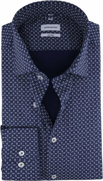 Seidensticker Overhemd Shaped Paisley Navy