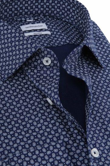 Seidensticker Overhemd Shaped Paisley Navy