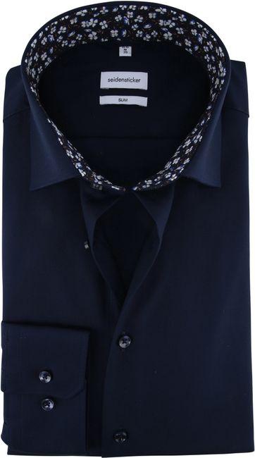 Seidensticker Overhemd Slim Navy