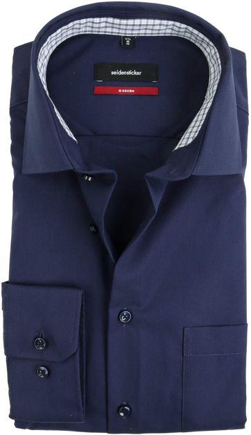 Seidensticker Overhemd Strijkvrij Navy