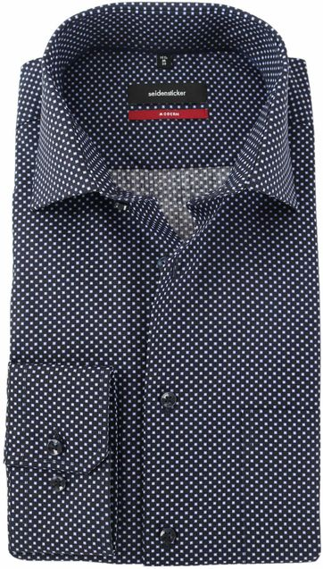 Seidensticker Overhemd Zwart Print