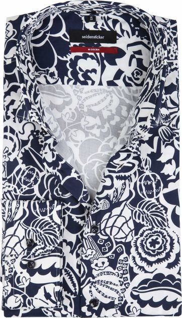 Seidensticker Shirt MF Flower Navy
