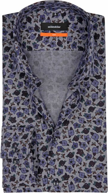 Seidensticker Shirt SF Flower Blue