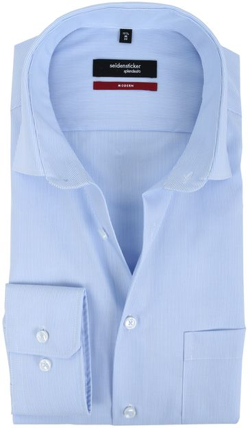 Seidensticker Strijkvrij Blauw Streep Overhemd
