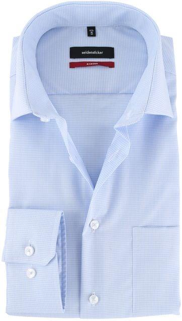 Seidensticker Strijkvrij Overhemd Blauw Ruit