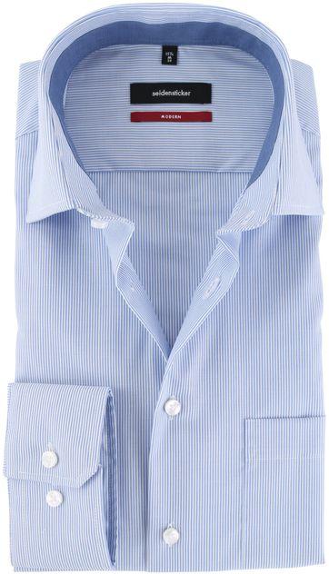 Seidensticker Strijkvrij Overhemd Blauw Streep