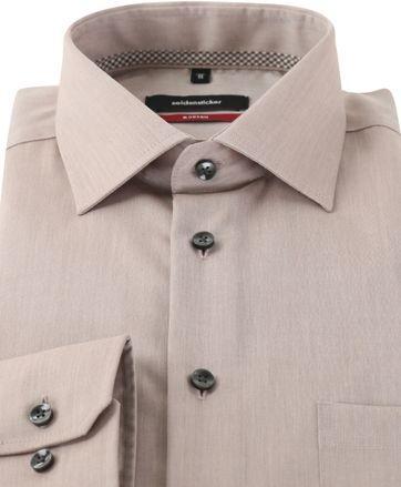 Detail Seidensticker Strijkvrij Overhemd Bruin