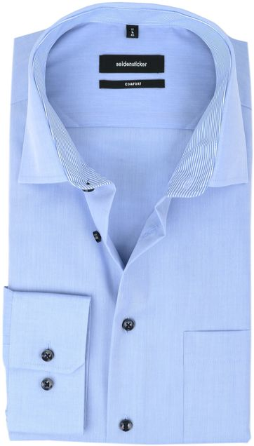 Seidensticker Strijkvrij Overhemd Comfort-Fit Blauw