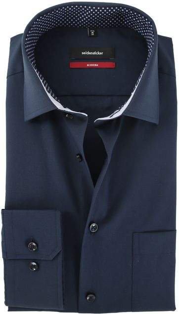 Seidensticker Strijkvrij Overhemd Donkerblauw