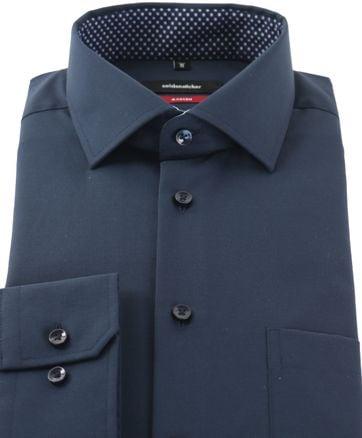 Detail Seidensticker Strijkvrij Overhemd Donkerblauw