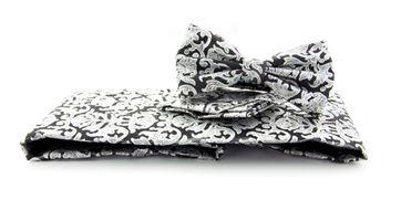 Set Kummerbund, Fliege + Einstecktuch Schwarz Motiv