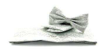 Set Kummerbund, Fliege und Einstecktuch Silber Paisley