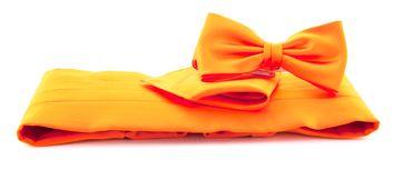 Set Kummerbund mit Fliege und Einstecktuch Orange
