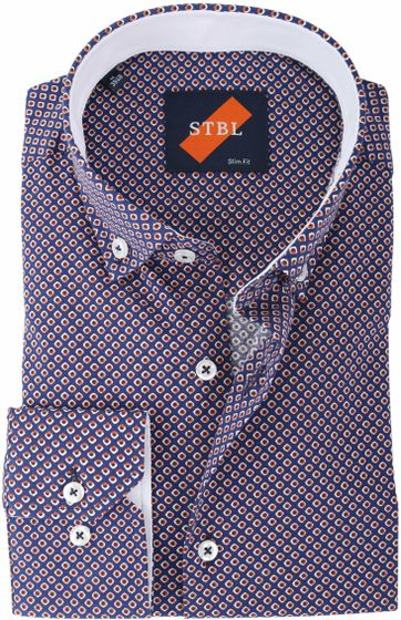 Shirt Suitable S2-4 Blauw Print
