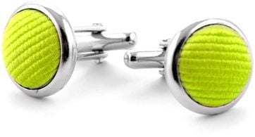 Silk Cufflinks Lime Green F04