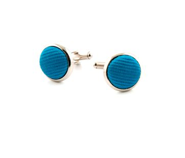 Silk Cufflinks Ocean Blue F32