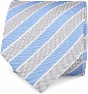 Silk Tie Blue Grey Stripes