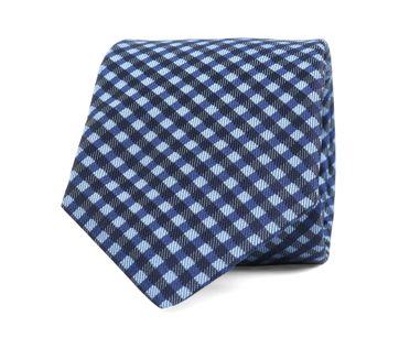 Silk Tie Check Blue