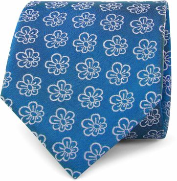 Silk Tie Flower Blue