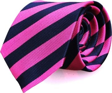 Silk Tie Fuchsia + Navy Striped FD10