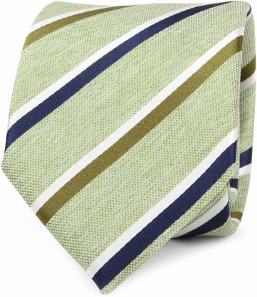 Silk Tie Green Stripes