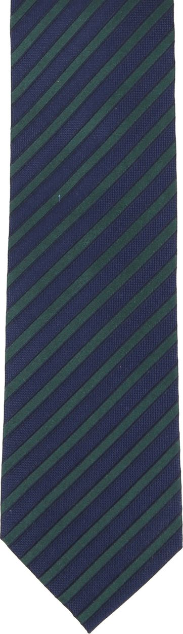 Silk Tie Navy Green Stripe F82-3