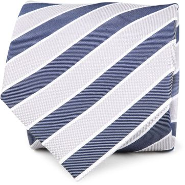 Silk Tie Navy Grey Stripes