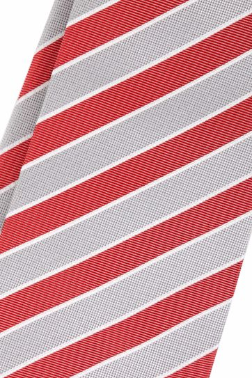 Silk Tie Red Grey Stripes