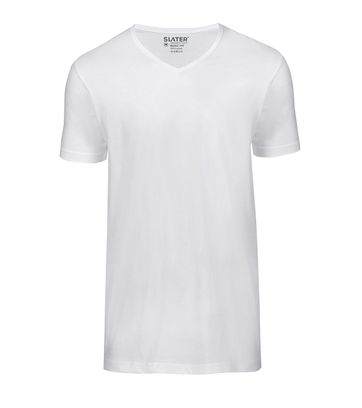 Slater 2-pack Basic Fit T-shirt V-hals Wit
