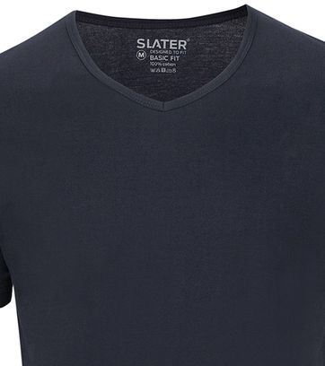 Slater 2-pack Basic Fit T-shirt V-neck Navy