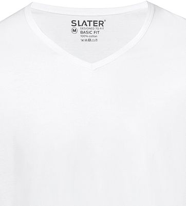Slater 2-pack Basic Fit T-shirt V-neck White