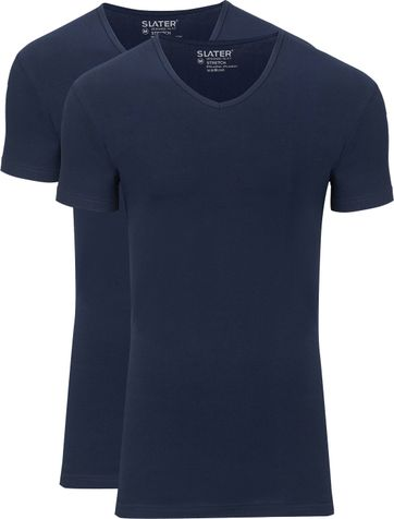 Slater 2-pack Stretch V-hals T-shirt Navy