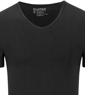 Slater 2-pack Stretch V-hals T-shirt Zwart