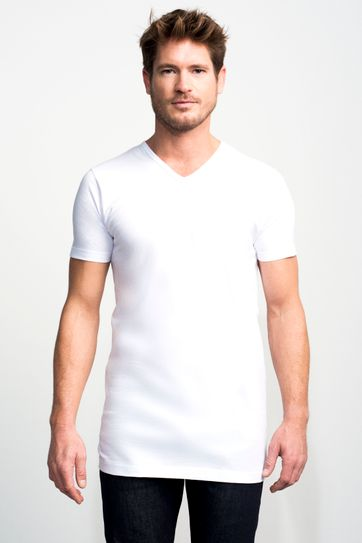 Slater 2-pack T-shirt Basic Extra Lang V-neck Wit