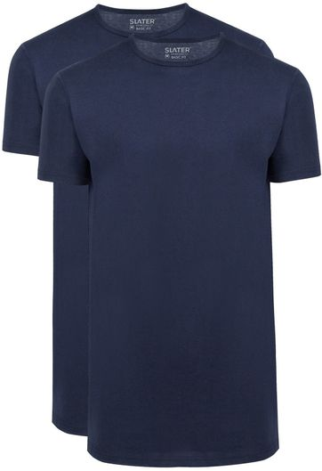 Slater 2-pack T-shirt Basic Extra Long O-neck Navy
