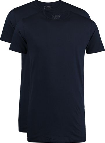 Slater 2-pack T-shirt Extra Lang R-Neck Navy