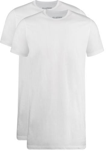 Slater 2-pack T-shirt Extra Lang R-Neck Wit
