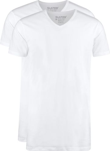 Slater 2-pack T-shirt Extra Lang V-neck Wit