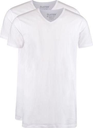 Slater 2-pack T-shirt Extra Long V-neck White
