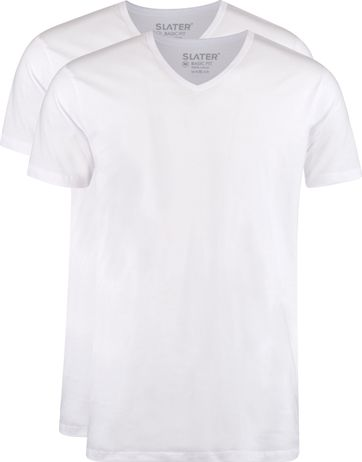 Slater 2-pack T-shirt  V-neck Wit