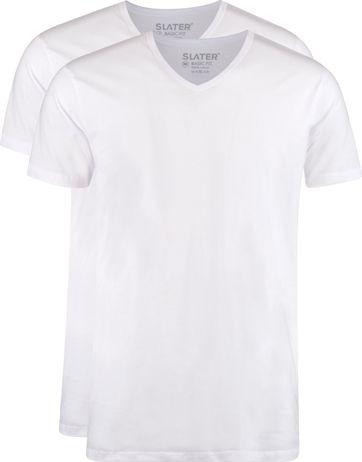 Slater 2-pack T-shirt V-neck Wit