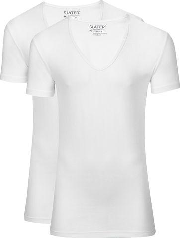 Slater 2er-Pack Stretch T-shirt Tiefer V-Ausschnitt Weiß