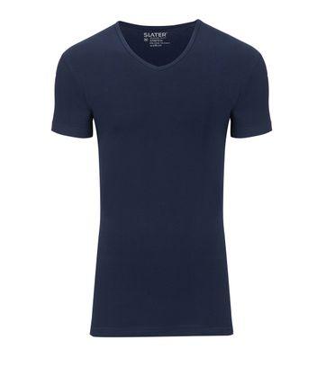 Slater 2er-Pack Stretch V-Ausschnitt T-shirt Dunkelblau